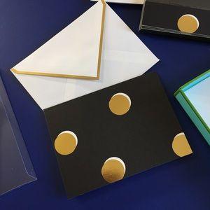 NIB Kate Spade Notecards Black Gold Polka Dots